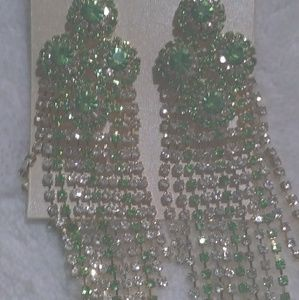 Beautiful Clear and Green Rhinestone Earrings